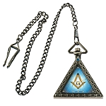Triangular Square & Compass Masonic Pocket Watch - [Antique Brass][2'' Tall]