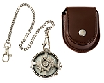 Spinning Square & Compass Masonic Pocket Watch - [Silver][2