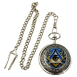 All Seeing Eye Masonic Pocket Watch - [Silver & Blue][2'' Diameter]