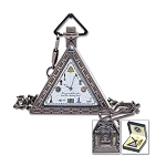 Triangular Working Tools Masonic Pocket Watch - [Antique Brass][2'' Tall]