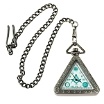 Triangular Square & Compass Antique Silver Masonic Pocket Watch - 2