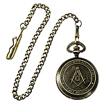 Shining Square & Compass Masonic Pocket Watch - [Antique Brass][2