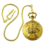Fire Department Gold Finish Pocket Watch - 2
