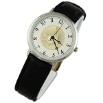 Square & Compass Leather Masonic Wrist Watch - [Silver]