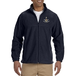 Past Master with Square & Protractor Embroidered Masonic Men's Fleece Full-Zip Jacket