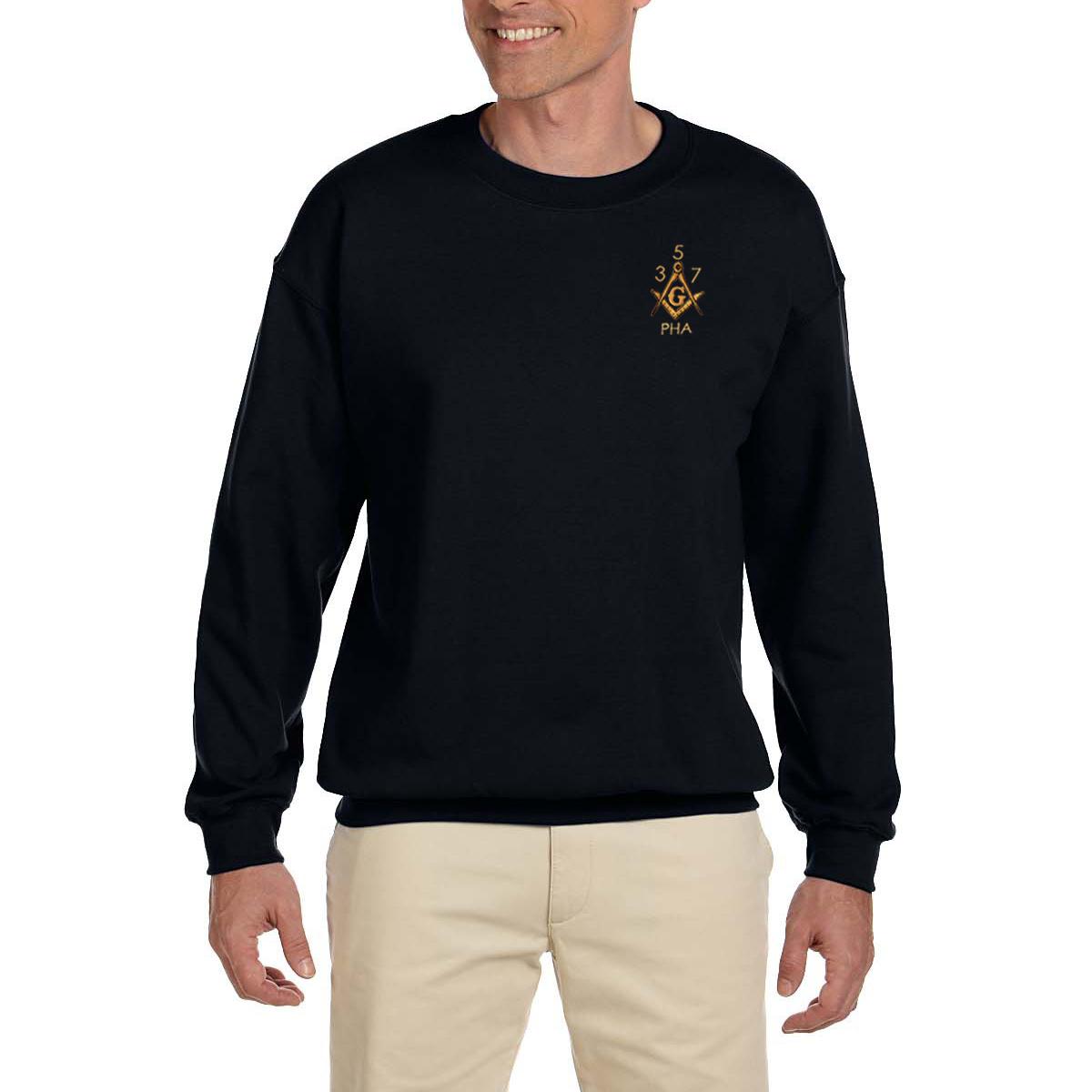 3bd304353 Prince Hall 3 5 7 Embroidered Masonic Men s Fleece Crew Sweatshirt