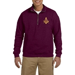 Square & Compass Embroidered Men's Quarter-Zip Sweatshirt