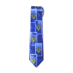 Square & Compass Blue Satin Tie