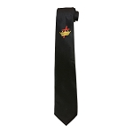 Templar Cross & Crown Black Satin Tie
