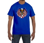X-Large Royal Blue Patriotic Flag Eagle Wings Holding Square & Compass Masonic Men's Crewneck T-Shirt