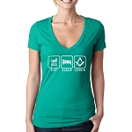 Eat Sleep Lodge Masonic Women's V-Neck T-Shirt