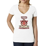 Behind Every Great Person There is a Freemason Masonic Women's V-Neck T-Shirt