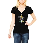 Behind Every Brother is an Even Better Sister Masonry OES Women's V-Neck T-Shirt