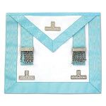 Light Blue Installed Master Masonic Apron with Silver Accents