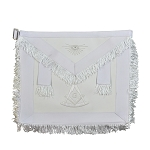 White Fringed Past Master Masonic Apron with G