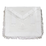White Fringed Past Master Masonic Apron with Sun