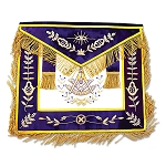 Grand Lodge Past Master Masonic Apron with Purple Velvet