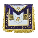 Order of the Eastern Star Fringed Masonic Apron with Embroidered Purple Velvet Border