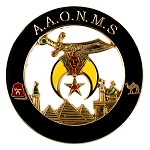 Shriner AAONMS Round Masonic Auto Emblem - [Black & Gold][3'' Diameter]