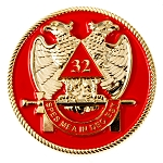 32nd Degree Scottish Rite Round Masonic Auto Emblem - [Red & Gold][2'' Diameter]