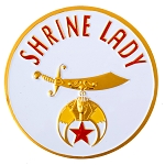Shrine Lady Round Masonic Auto Emblem - [White & Gold][3'' Diameter]