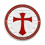 Knights Templar Cross Red & Silver Coin with Plastic Protective Case - 1 1/2