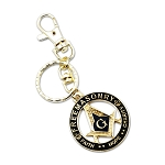 Faith Hope Charity Square & Compass Black Masonic Key Chain - 1 1/2