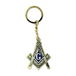 Square & Compass Gold & Blue Key Chain - 2 1/4