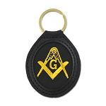 Embroidered Gold Square & Compass Black Leather Key Chain - 3 5/8
