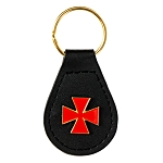 Leather Templar Cross Masonic Key Chain - [Black & Red][3 1/4'' Tall]