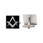 Square & Compass Square Black & Silver Cufflink Set - 3/4