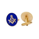 Square & Compass Oval Blue & Gold Cufflink Set - 3/4