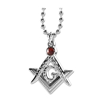 Square & Compass with Red Rhinestone Pendant Necklace