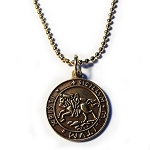 Knights Templar Seal Crusaders Solomon's Temple Antique Gold Pendant Necklace - 7/8