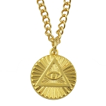 All Seeing Eye - Eye of Providence Gold Pendant Necklace - 5/8