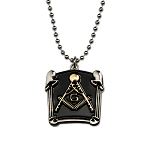 Double Pillar Square & Compass Black & Gold Pendant Necklace - 1 1/4