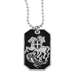 Christian Templar St. George Slaying Dragon Dog Tag Black & Silver Pendant Necklace - 1 1/2