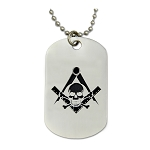 Engraved Widow's Son Square & Compass Silver Dog Tag Pendant Necklace - 2