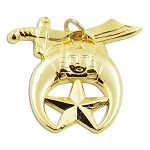 Shriner Gold Pendant - 1 3/8