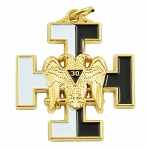 30th Degree Double Headed Eagle with Teutonic Cross White & Black Pendant/Jewel - 1 1/2