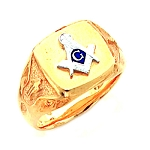Gold Plated Blue Lodge Ring MASCJ1037