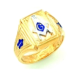 Gold Plated Blue Lodge Ring MASCJ1698