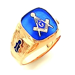 Gold Plated Blue Lodge Ring MASCJ364
