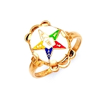 Gold Plated Eastern Star Ring MASCJ57359ES
