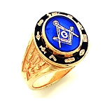 Gold Plated Blue Lodge Ring MASCJ591