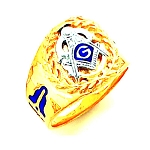 Gold Plated Blue Lodge Ring MASCJ707