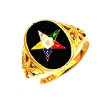 Sterling Silver or Gold Vermeil Order of the Eastern Star Ring MASCJ302ES