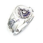 Sterling Silver or Gold Vermeil Blue Lodge Past Master Ring MASCJ591PM