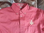 Embroidered Square & Compass Harriton Twill Burgandy Large Button Down Shirt