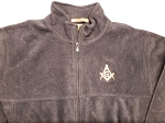 Navy Blue XX-Large Full Zip Fleece Jacket with Embroidered Square & Compass